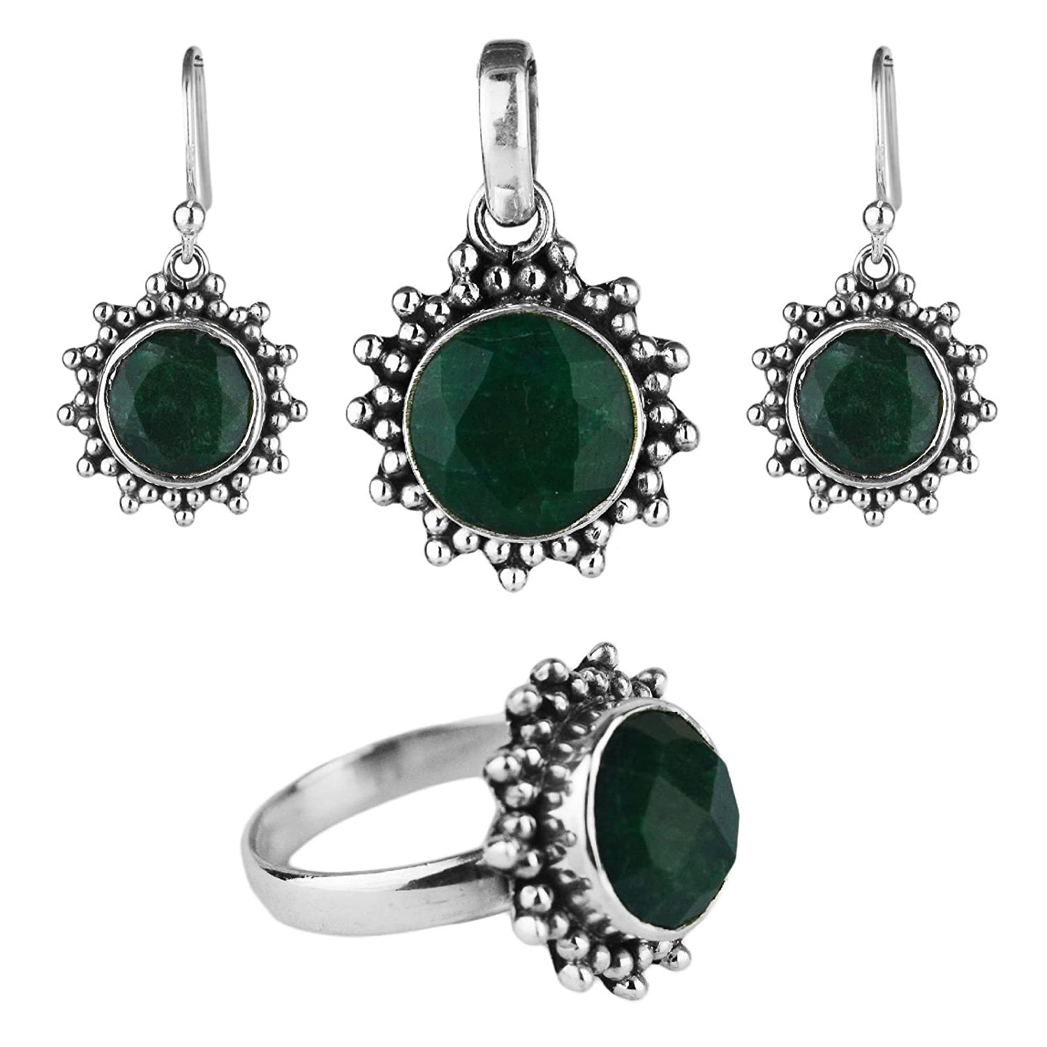 Crystalcraftindia Natural emerald gemstone jewelry set pendant ring earring sterling silver 12.21 gms