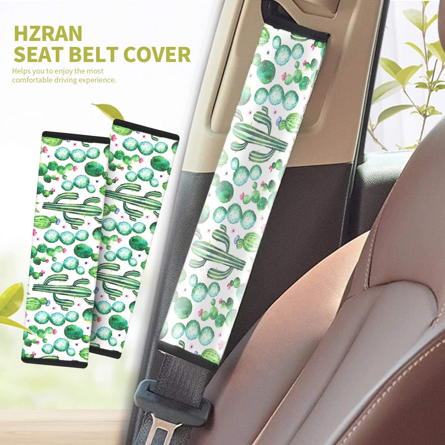 Hzran 2 Packs Seat Belt Cover-Seat Belt Clips-Seat Belt Adjuster-Shoulder Strap Pad-Safety Belt Cover-Comfortable Experience with Safety and Protection for Adults /& Kids