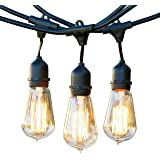 Brightech Ambience Pro Vintage Outdoor Light Strand - 48 Ft Weatherproof Commercial Grade Edison Market Hanging Cafe Bistro Waterproof Light Strand for Patio Garden Porch Backyard Party Yard – Black