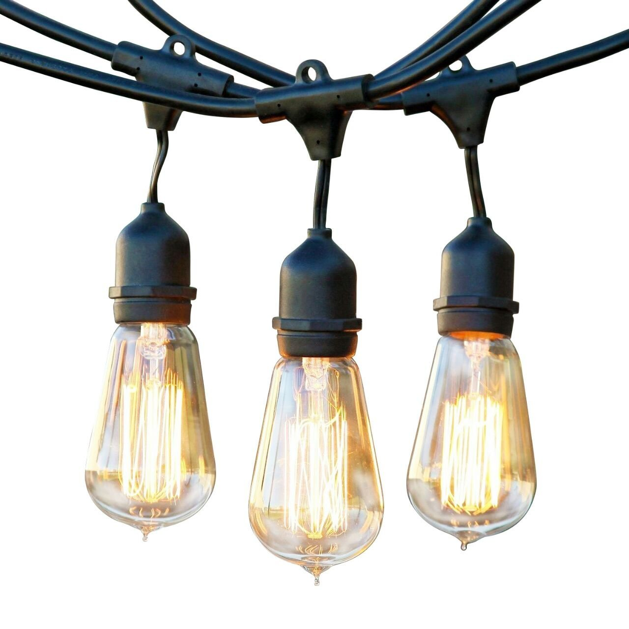 Brightech Ambience Pro - Waterproof Incandescent Outdoor String Lights - Hanging Vintage Edison Filament Bulbs - 48 Ft Market Lights Create Ambience On Your Deck, Balcony