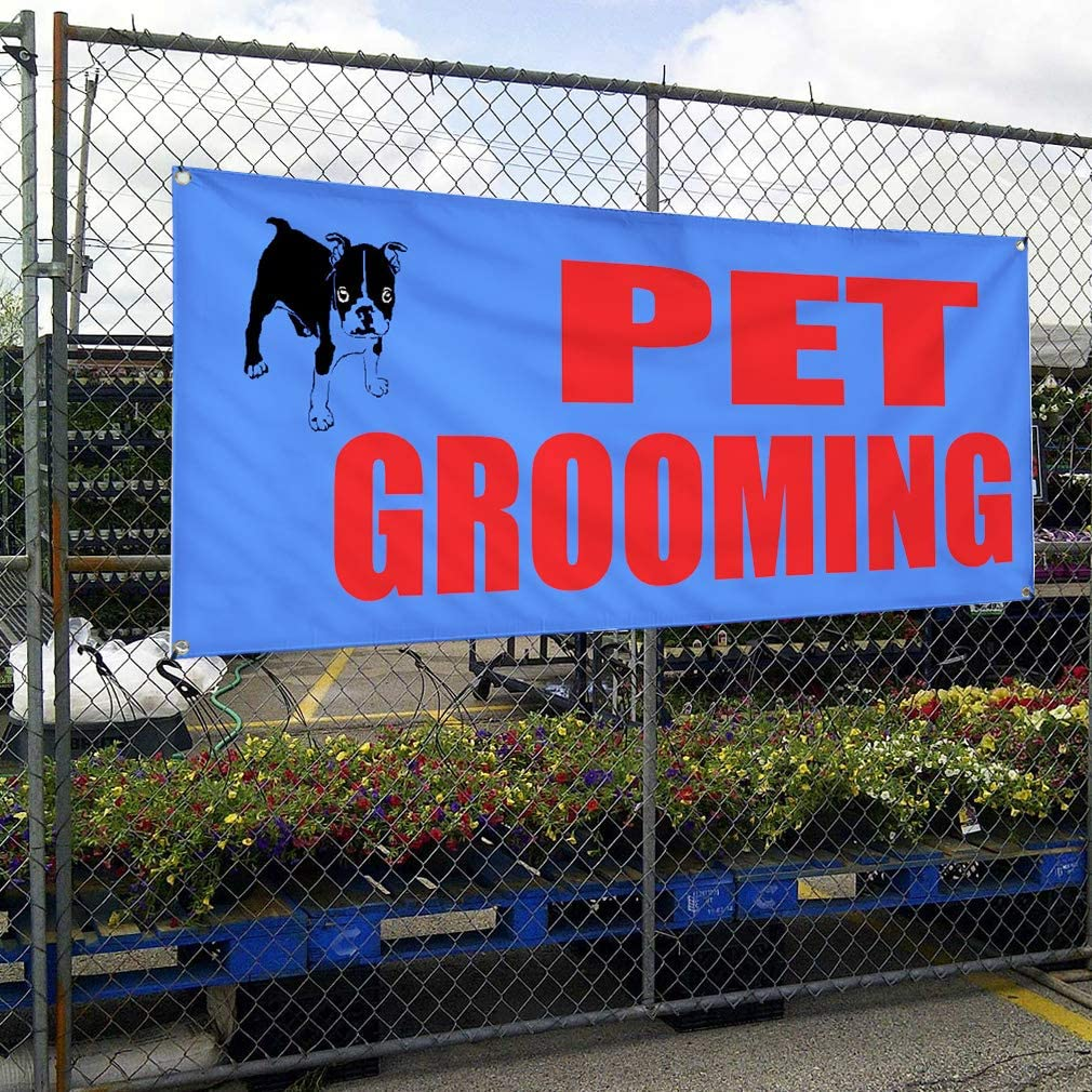 Multiple Sizes Available 48inx96in 8 Grommets Vinyl Banner Sign Pet Grooming Promotion Business Business Marketing Advertising Blue One Banner