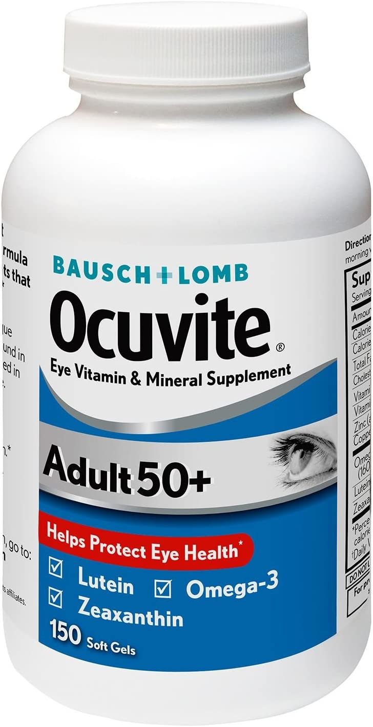 Bausch Lomb Ocuvite Adult 50 Eye Vitamin Mineral Supplement – 150 Softgels