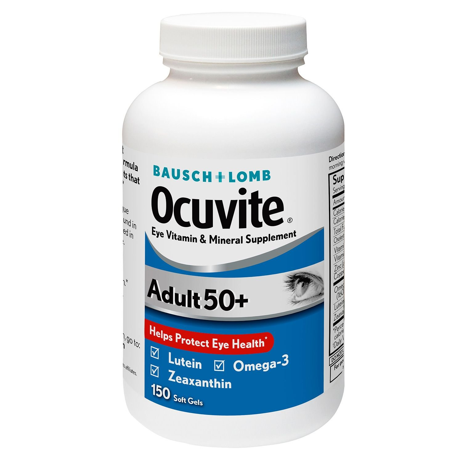 Bausch & Lomb Ocuvite Adult 50+ Vitamin & Mineral Supplement Soft Gels, 2Pack (150-Count Bottle Each ) bmdwl