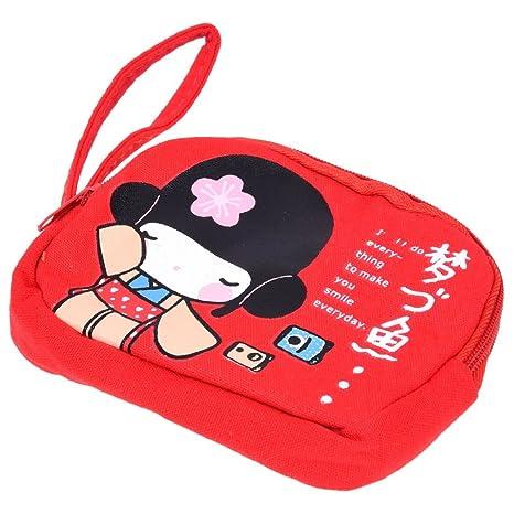 SODIAL Nueva bolsa de telefono de lona de impresion de chica japonesa linda con Doble cremallera Bolso de la moneda del monedero Rojo