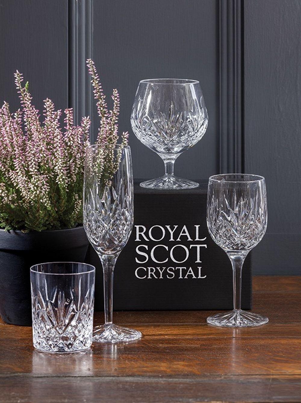 Royal Scot Crystal Hand Cut Glass Whisky Barrel Tumbler Glass 240ml 8oz in Highland Design | Scottish Whisky Glass with Presentation Box