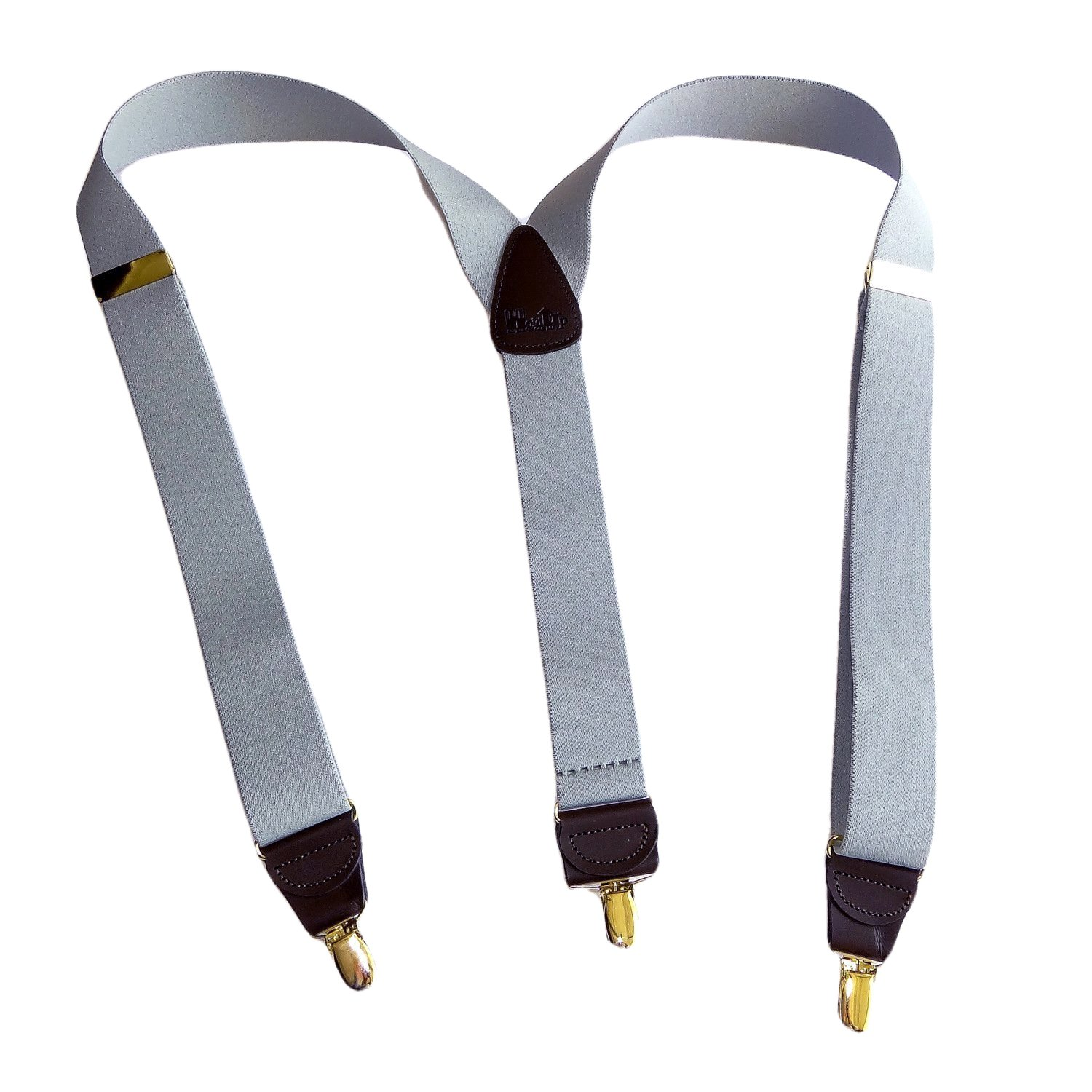 Holdup brand Silver Fox Light Gray 1 1/2'' wide Suspenders in Y-back with Goldtone no-slip Clips