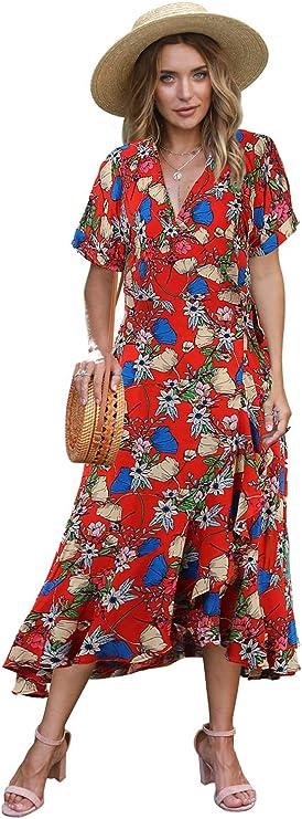 Women's Floral Print Casual Dress Short Sleeve V Neck Ruffle Beach Long Maxi Dress
