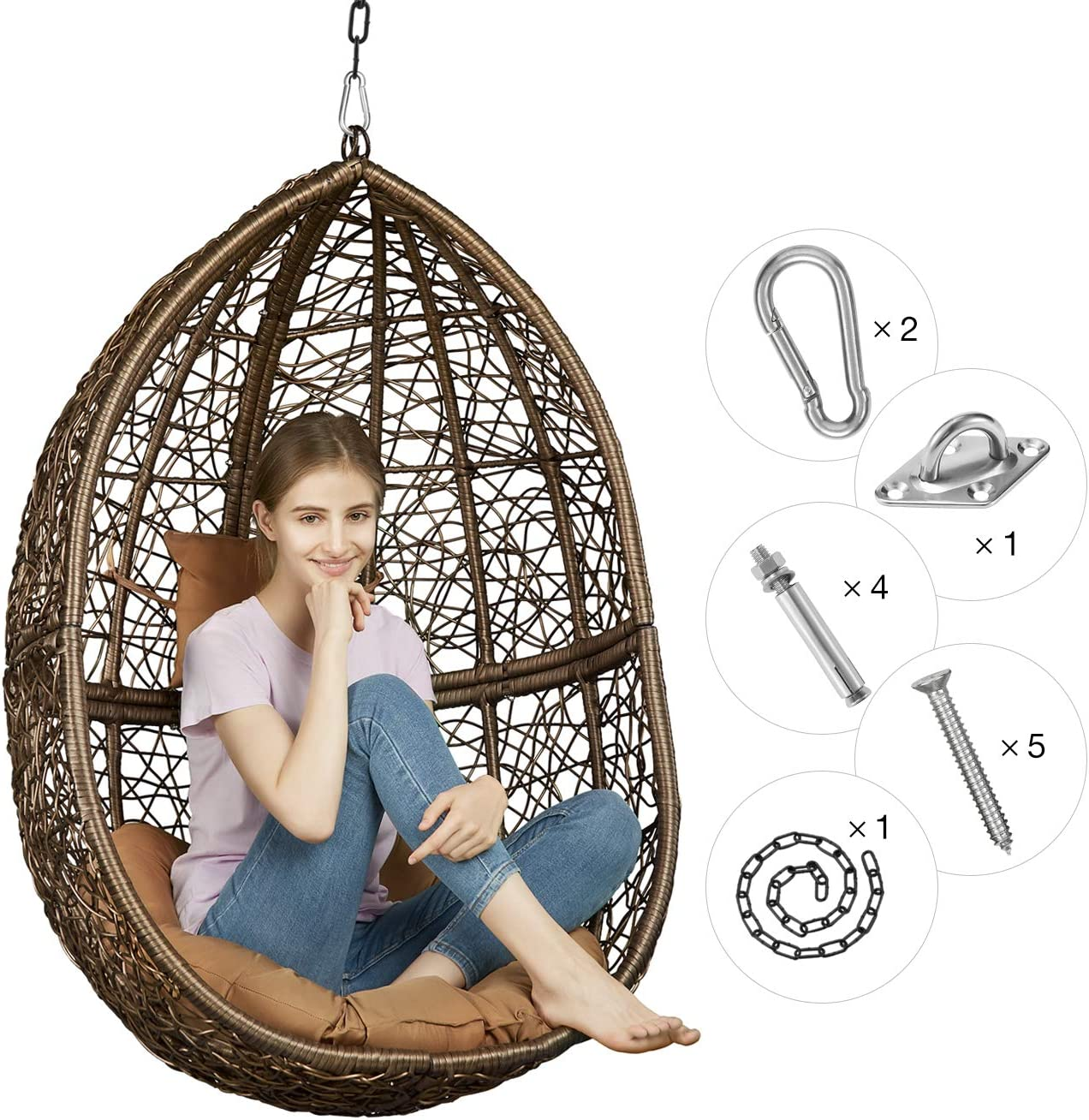 Greenstell Rattan Wicker Egg Hammock Chair with Hanging Kits,Weather Fastness Hanging Chair with Comfortable Brown Cushion and Pillow,Basket Swing Chair for Indoor,Outdoor Bedroom,Patio,Garden Brown