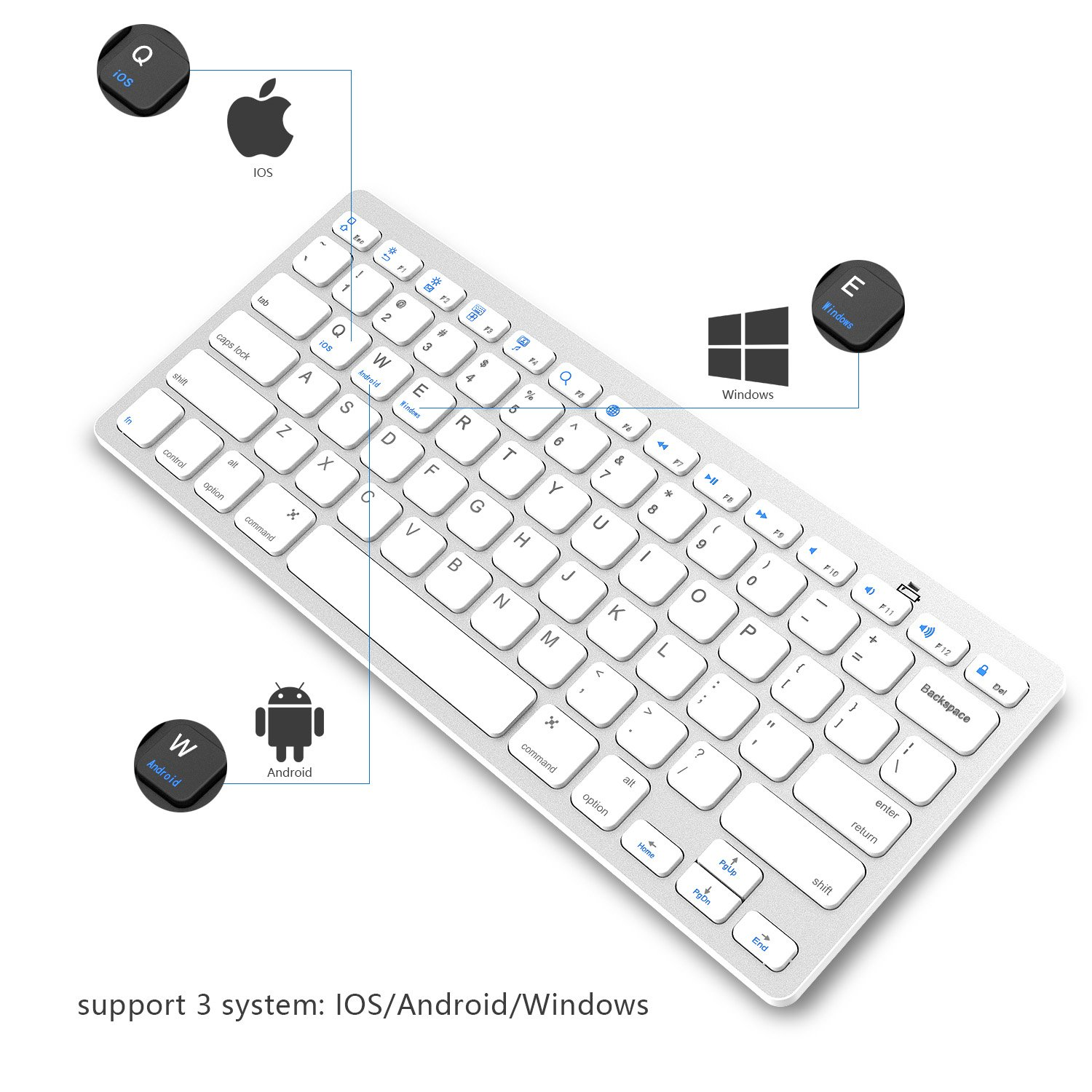 Compatible for iPad pro, iPhone X, SamsungTab, Surface pro and More -Silver Bluetooth Keyboard /— Jelly Comb Compact Bluetooth Keyboard Ultra Slim for iOS Android Windows Mac OS PC Tablet Smartphone