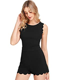9fadf5339ed Amazon.com  Romwe Women s Casual Straps Sleeveless Short Romper ...