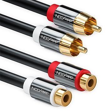 deleyCON Cable alargador de 0,5m Cinch RCA cable de audio estéreo de 2 Cinch