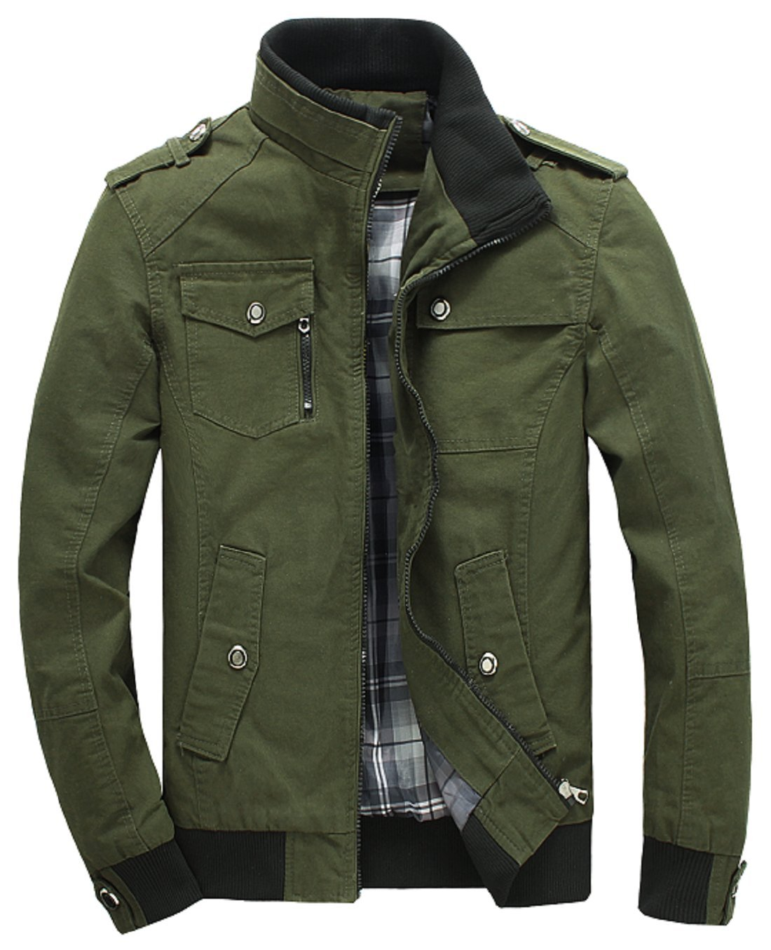 Lejckea Men's Muti-Pockets Cotton Stand Collar Jackets and Coats(XS Size,Army Green) by Lejckea
