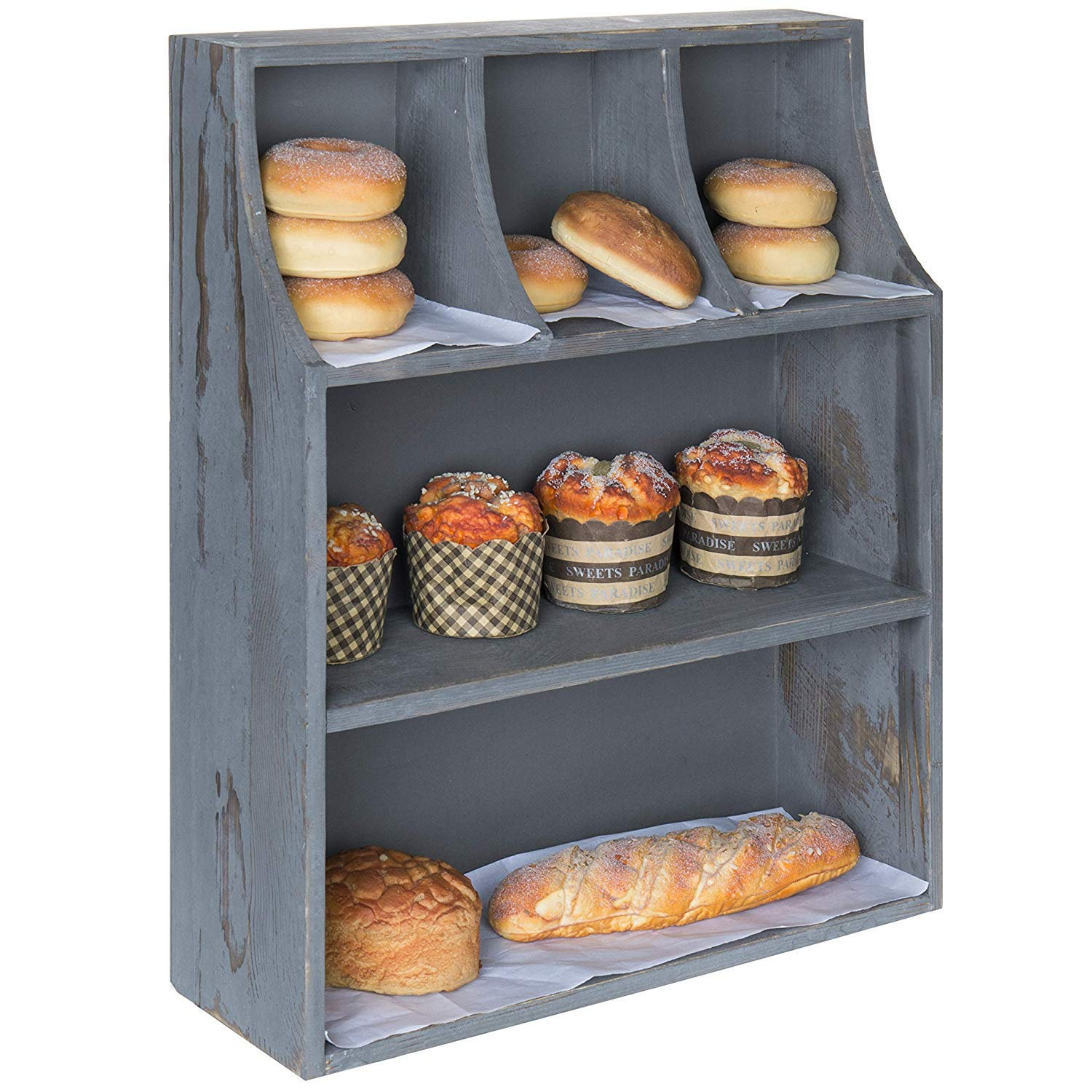 ifidex Eletina 3 Tier Rustic Grey Wood Bakery Countertop Display Stand