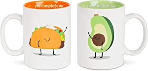 Pavilion Gift Company Taco & Avocado Complimentary Dishwasher Safe Coffee Mugs, 18 oz, Multicolor