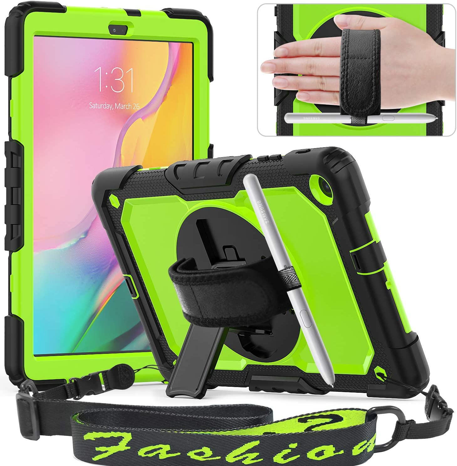 Timecity Galaxy Tab A 10.1 Case, SM-T510/T515/T517 2019 Release Case, Full-Body Drop Proof Hybrid Armor Case with Rotating Stand Screen Protector Hand Strap for Galaxy Tab A 10.1-Green+Black