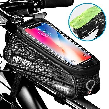 BTNEEU Bolsa Cuadro Bicicleta Impermeable con Pantalla Táctil, Bolsa Bicicleta Manillar Movil Bolsa Bicicleta Telefono Bolsa Tubo Bicicleta para ...