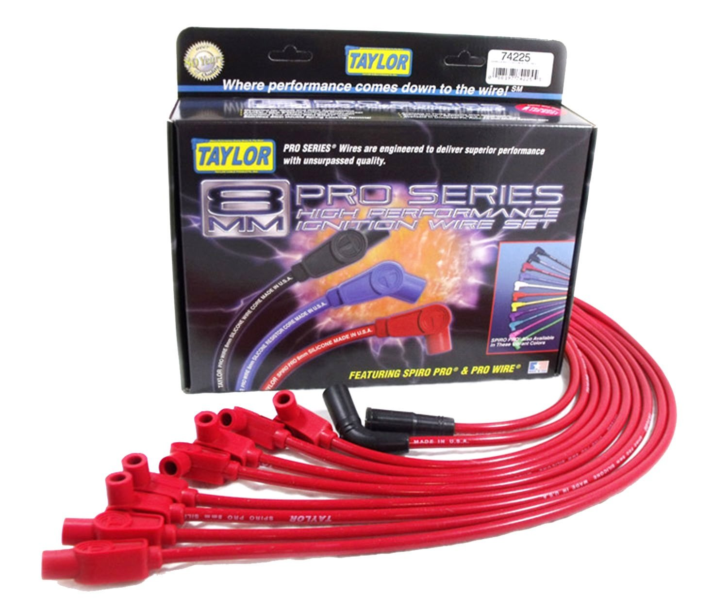Taylor Cable 74225 Spiro-Pro Red Spark Plug Wire Set