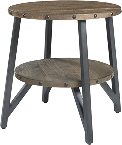 Signature Design by Ashley – Haffenburg Urban Round End Table, Medium Brown