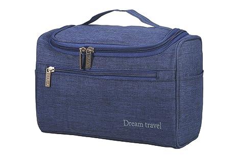 AMGOMH Bolsas de Aseo Neceser de Viaje Impermeable Cosméticos Organizador Accesorios de Baño para Gancho Mujer (Azul)
