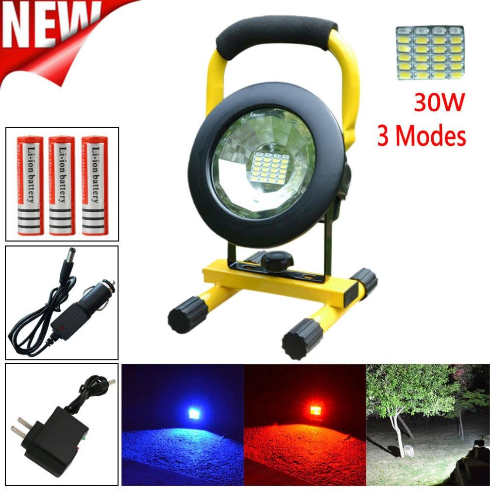 Led Flood Light, Napoo Portable 30W 24 LED Waterproof Rechargeable Worklight Spot Work Lamp Emergency Light For Outdoor Camping, Working, Fishing …