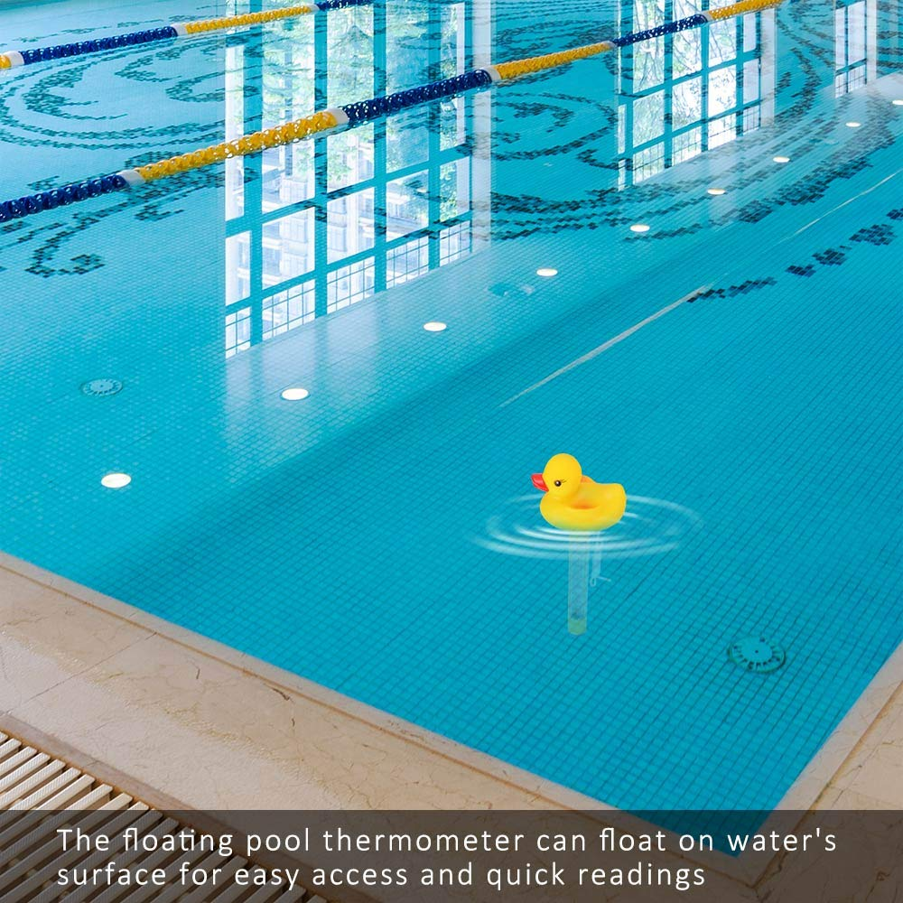 Duck ONEVER Floating Pool Thermometer Water Temperature Thermometers with String Shatter Resistant for Swimming Pools Bath Spas Hot Tubs Fish Ponds Jacuzzis and Aquariums /°F///°C