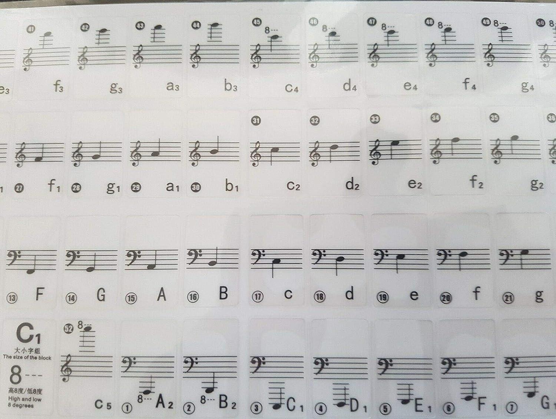 Piano para Teclado de 52 Notas con Notas de Notas y Nombre y ...