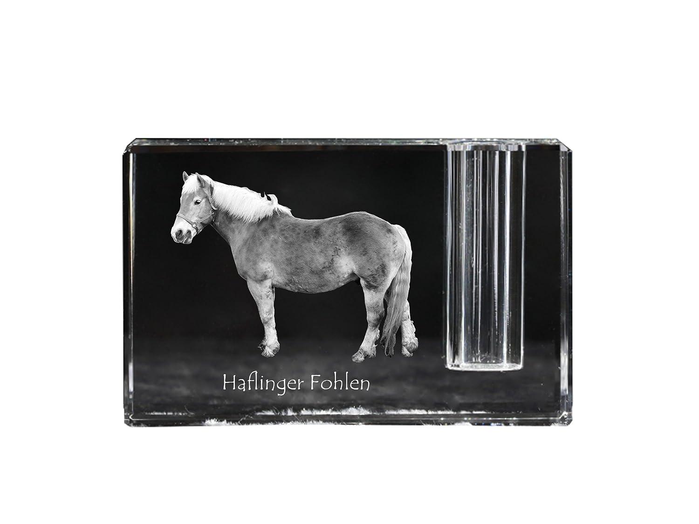ArtDog Ltd. Haflinger Fohlen, Kristall Stifthalter mit Pferd, andenken, Schreibtisch-Accessoire, Limitierte Auflage
