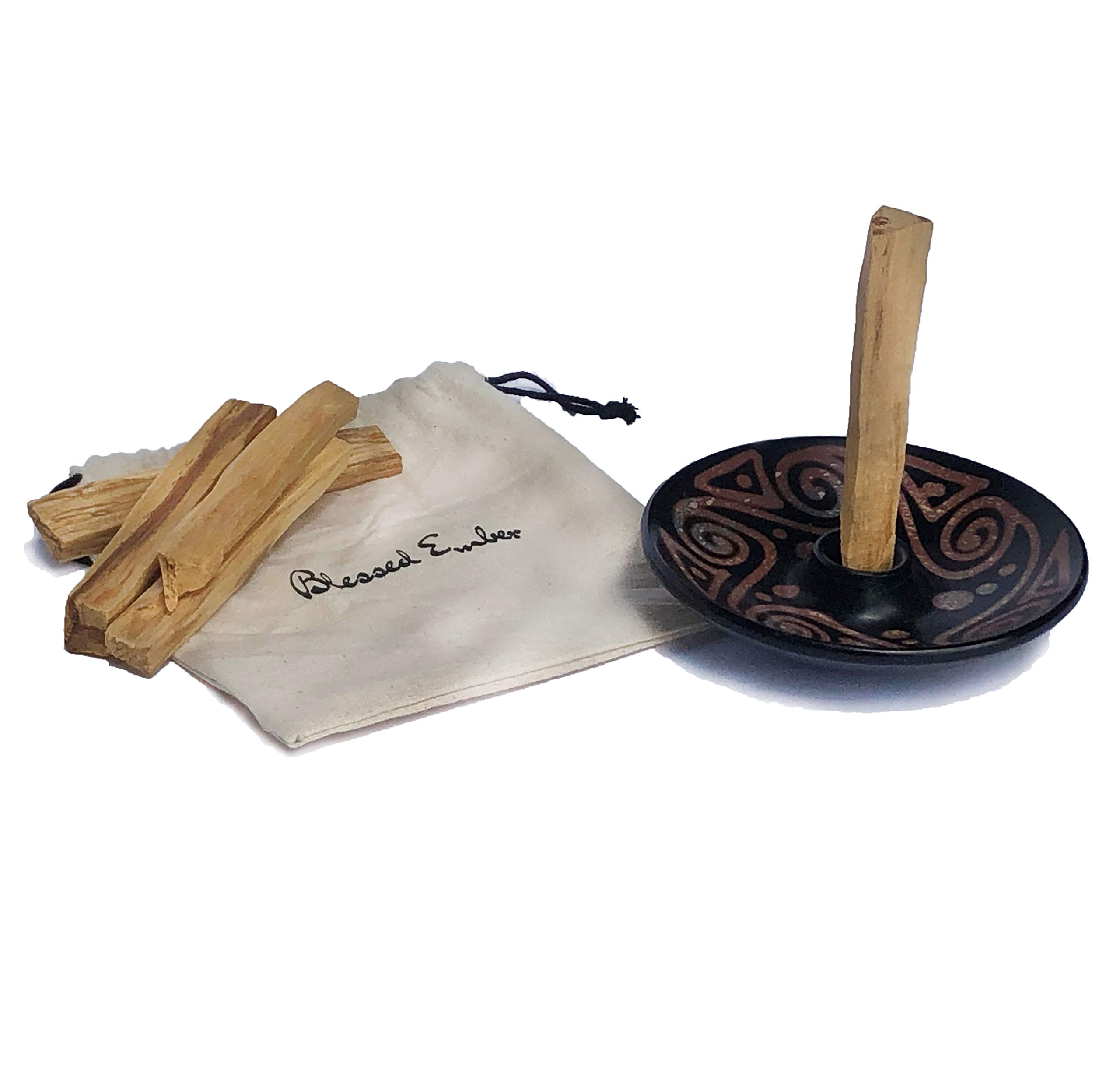 Blessed Ember Palo Santo Holder Handmade Andean Pottery from Chulucanas, Peru, 5 Palo Santo Sticks Included (Designs Vary) by Blessed Ember (Image #2)