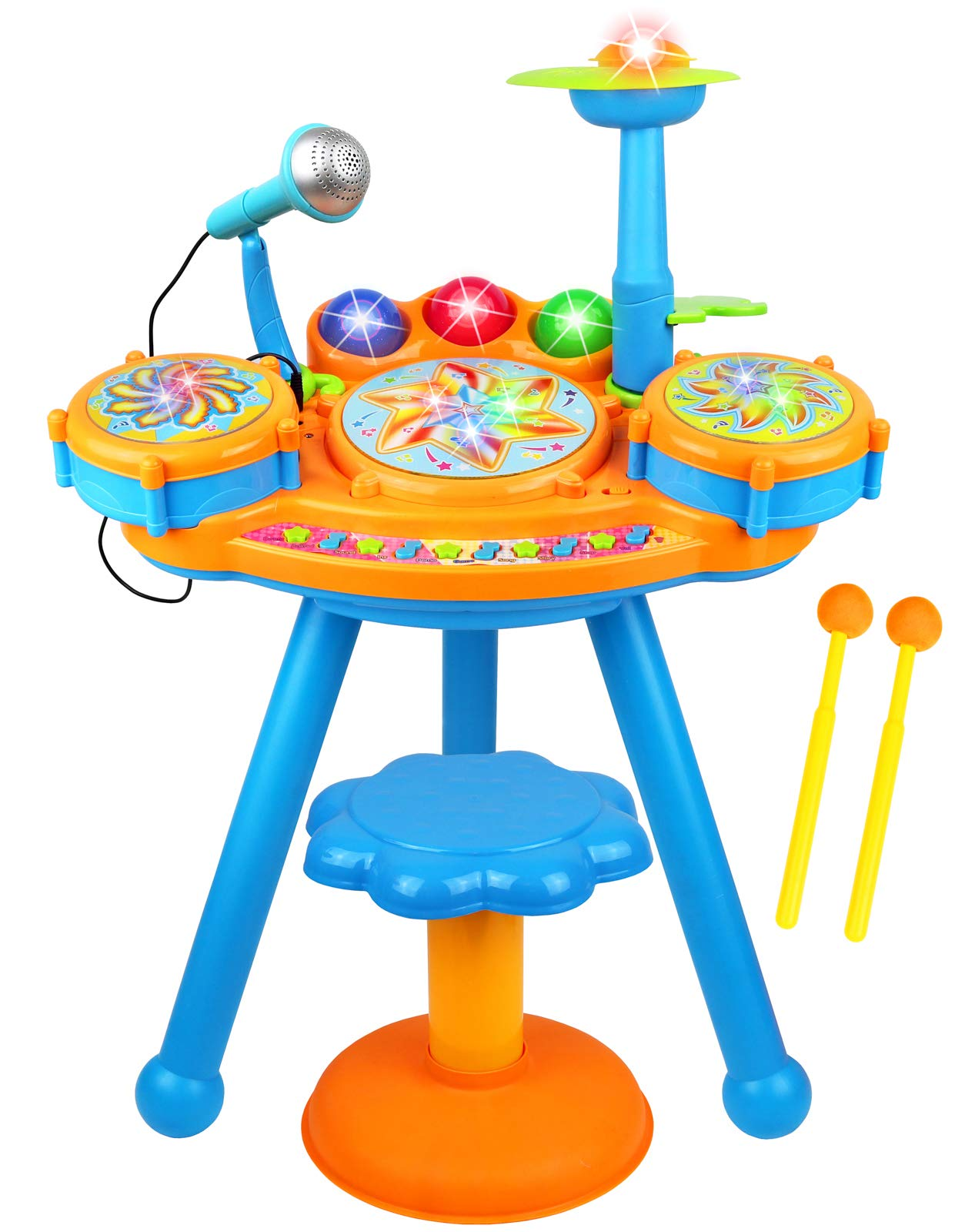 Kiddie Play Electric Toy Drum Set for Kids with Stool, Microphone and Beautiful LED Lights - Various Functions and Activity - 2 Drumsticks Included by Kiddie Play
