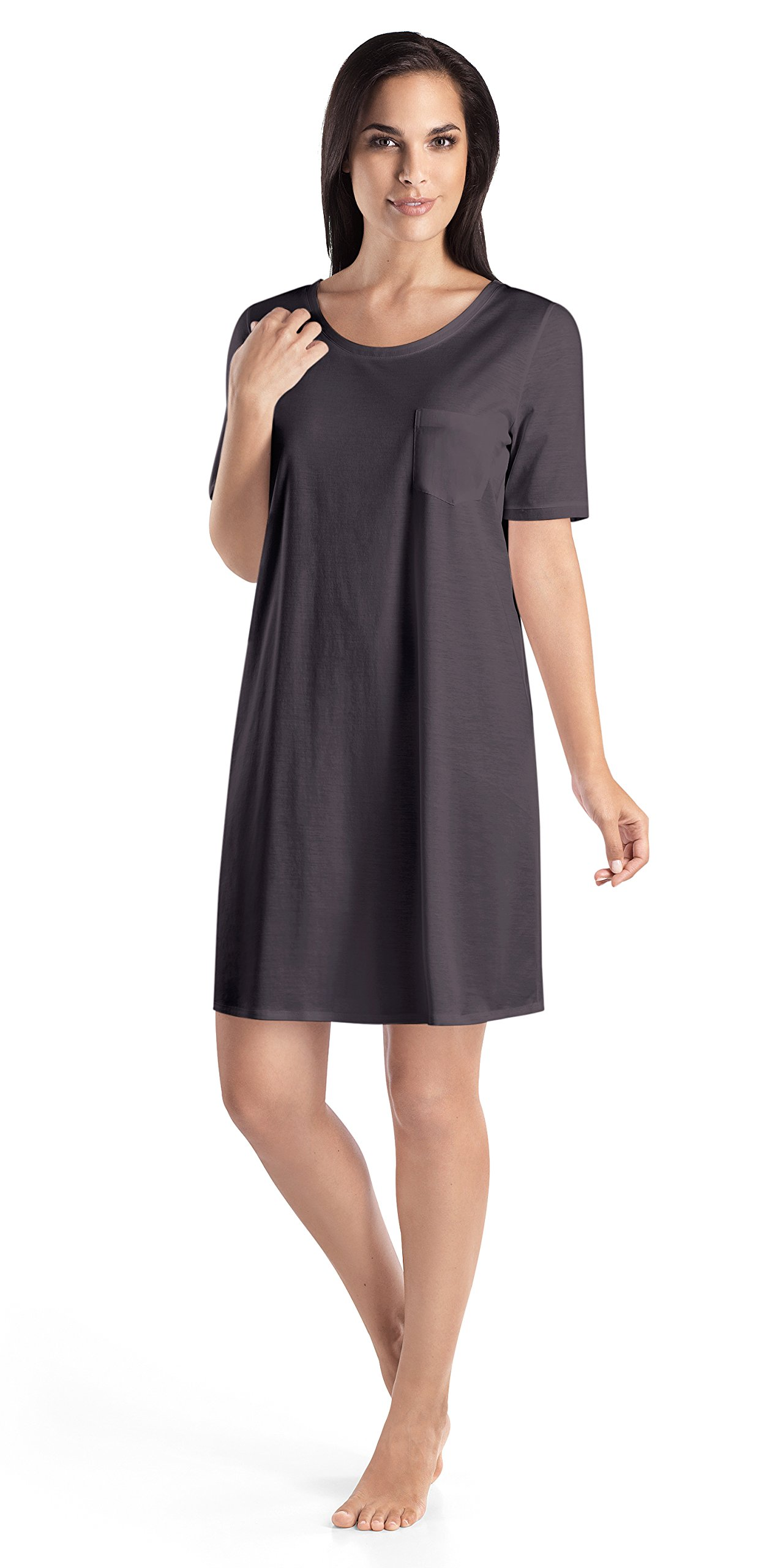 Hanro Women's Cotton Deluxe Short Sleeve Bigshirt, Carbon, Large