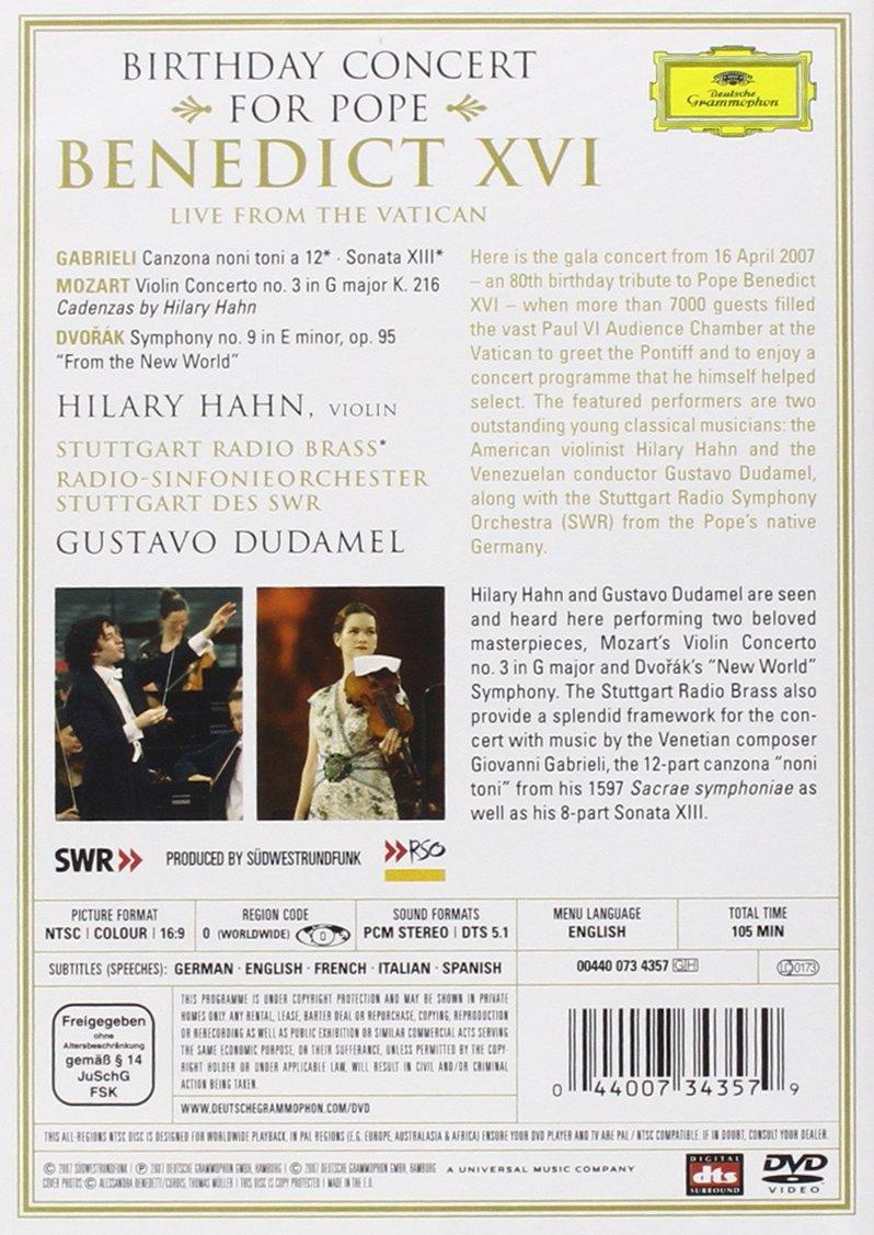 Amazon.com: Birthday Concert for Pope Benedict XVI [DVD Video]: Hilary Hahn, Stuttgart Radio Symphony Orchestra, Gustavo Dudamel: Movies & TV