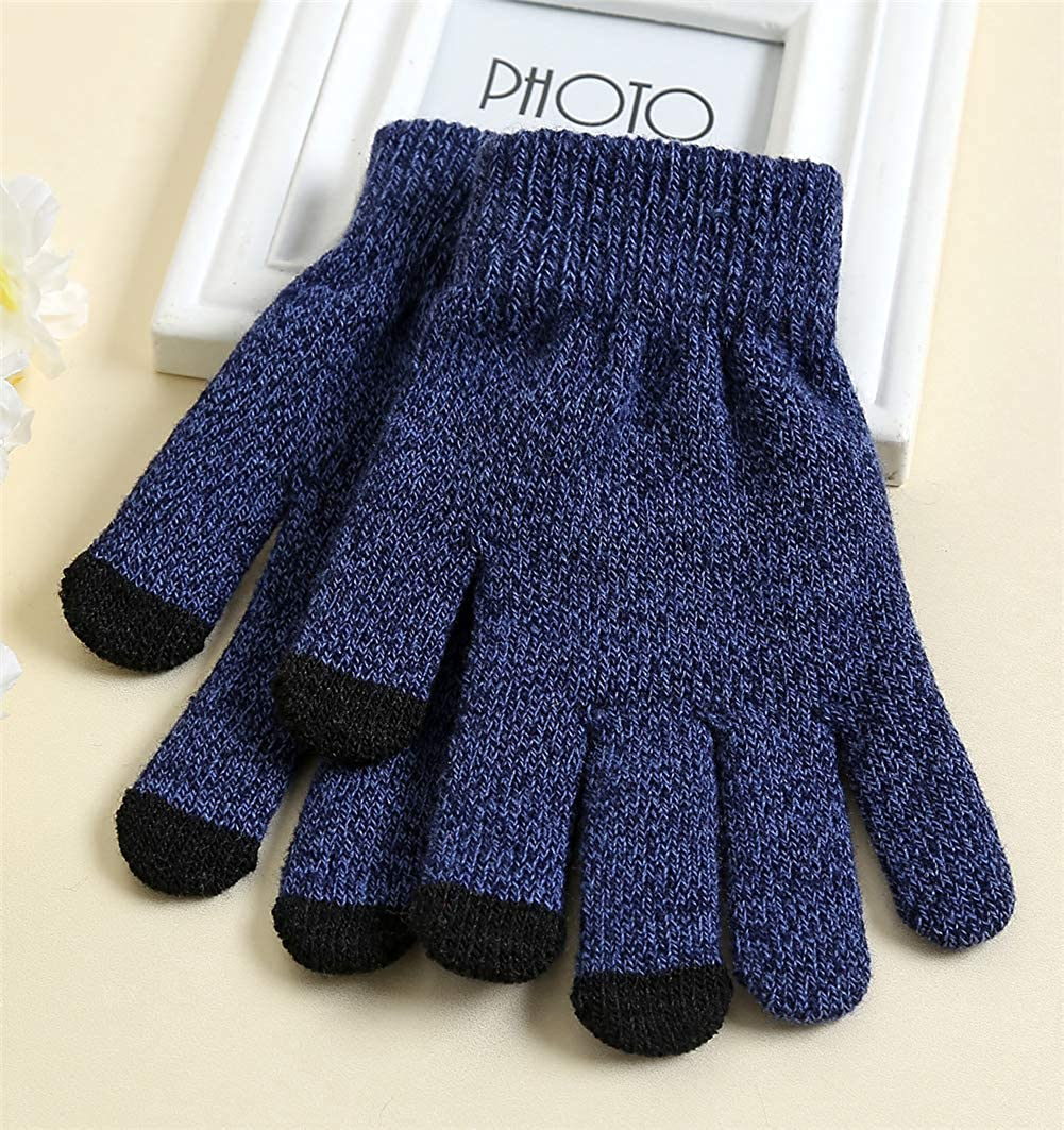 BHCsports Touch Screen Thick Brushed Warm Mens and Womens Knitted Gloves