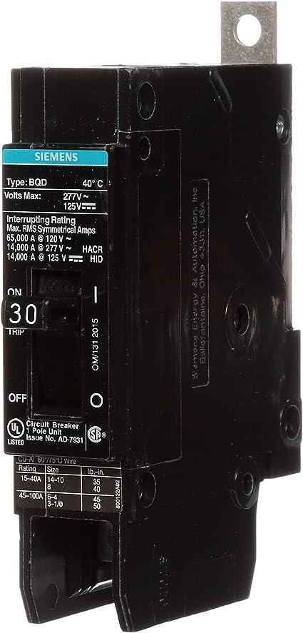 Siemens BQD125 1-pole 25amp 277 volt bolt in circuit breaker