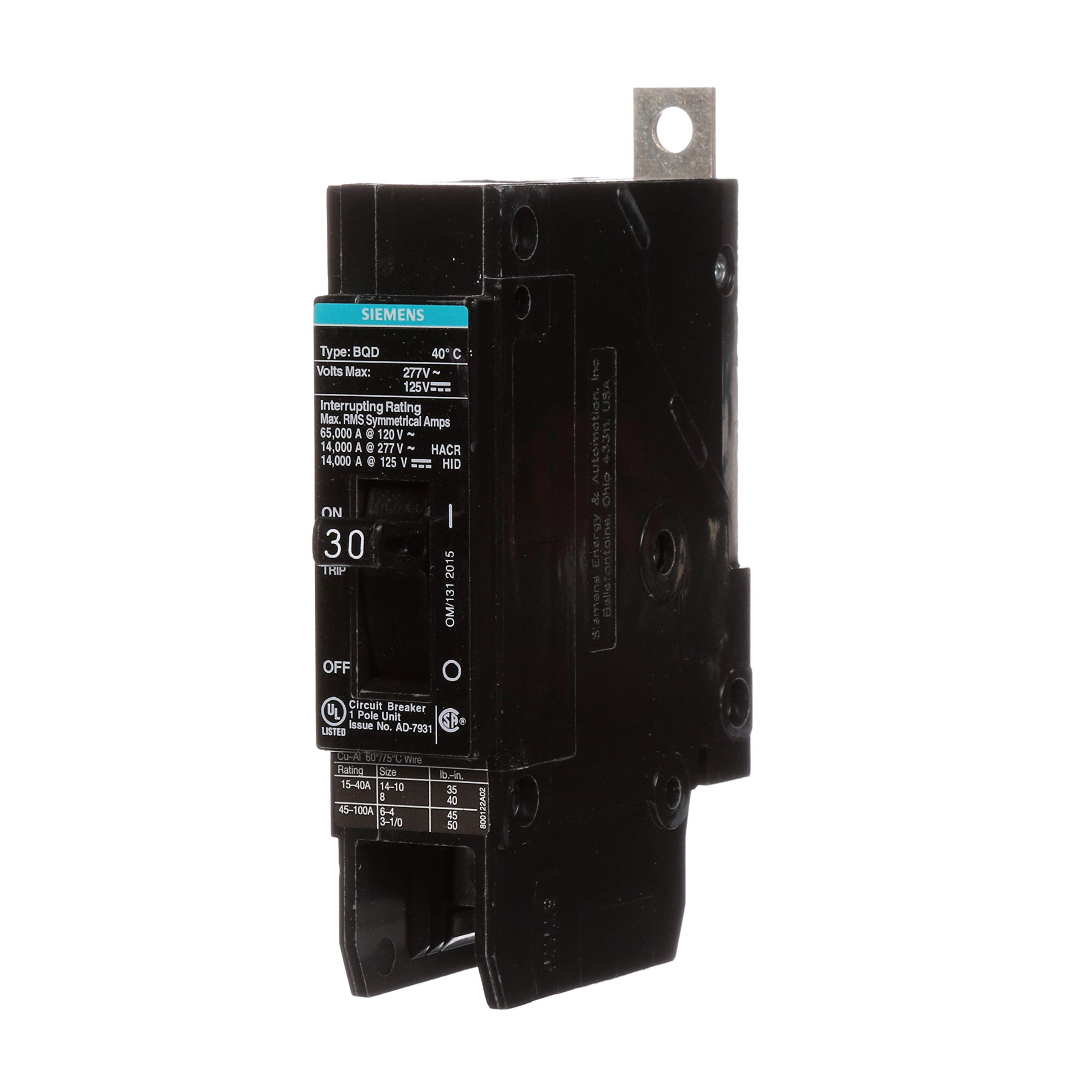 Siemens BQD130 30-Amp Single Pole 277V AC / 125V DC 14KAIC Bolt in Breaker