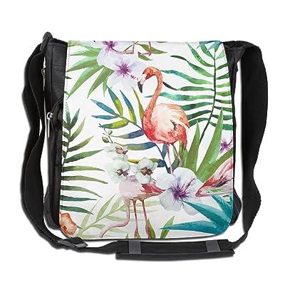 Unisex Narrow Diagonal Shoulder Bag Flamingo Leaves Flower Painting Printed Casual Messenger Cross Body Bag Adjustable Shoulder Tote Bag