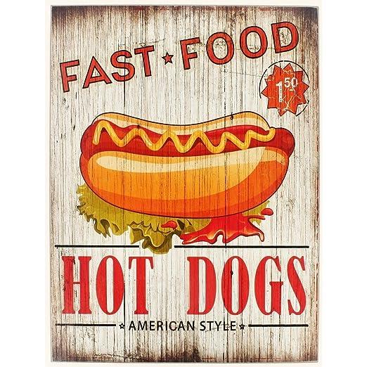 Promobo - Cuadro Panel americano cartel pub madera Hot Dog ...