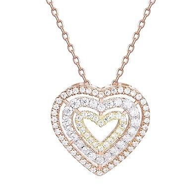 Amazon guqiguli sterling silver jewelry rose gold tri color guqiguli sterling silver jewelry rose gold tri color triple heart pendant necklace for women aloadofball Images