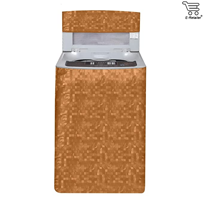 E Retailer Classic Orange Colour With Square Design Top Load Washing Machine Cover Washing Machine Covers
