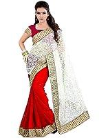 V-Art Half-Half Brasso-Chiffon Red Embellished Saree With Red Chiffon Blouse