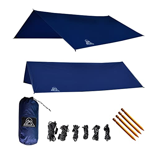 OAV Hammock Tarp Waterproof Rain Fly: 40D Ripstop Real Nylon, Lightweight, Includes Stakes & Ropes Attached to Tarp, Use for Shelter or Sunshade, 10' - Durable, Easy Set Up!