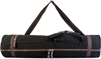 SukhaMat - Large Yoga Mat Bag Carrier with 3 Storage Pockets, Air-Vents and Adjustable Shoulder Strap Heavy Duty & Machine Washable - Fits Most Yoga ...