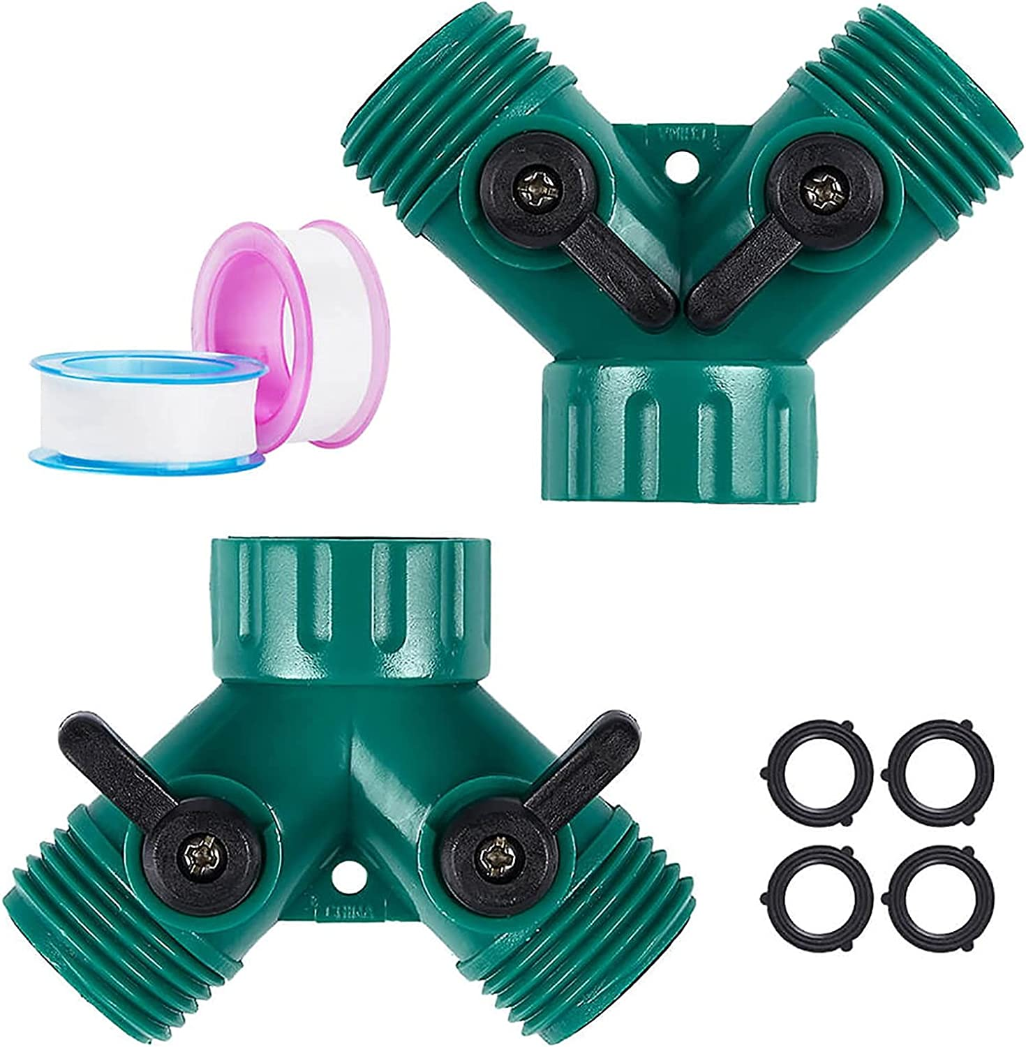 2 Way Hose Splitter Garden Hose Y Connector Brass Garden Hose Adapter Heavy Duty Water Hose Splitter with 6 Rubber Washers and 2 Sealant Tape (Plastic,2 Pcs)