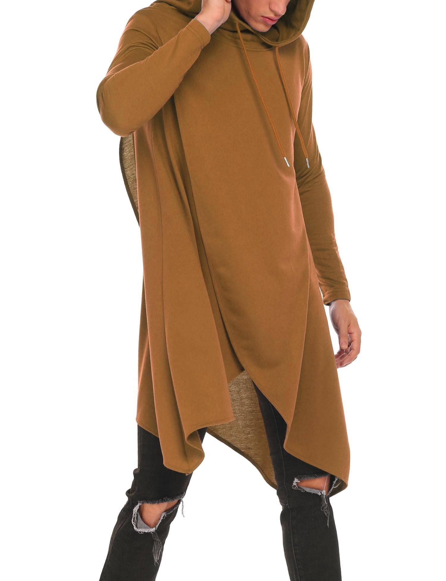 OOFANDY Mens Casual Hooded Poncho Cape Cloak Irregular Hem Hoodie Pullover,Coffee,Small