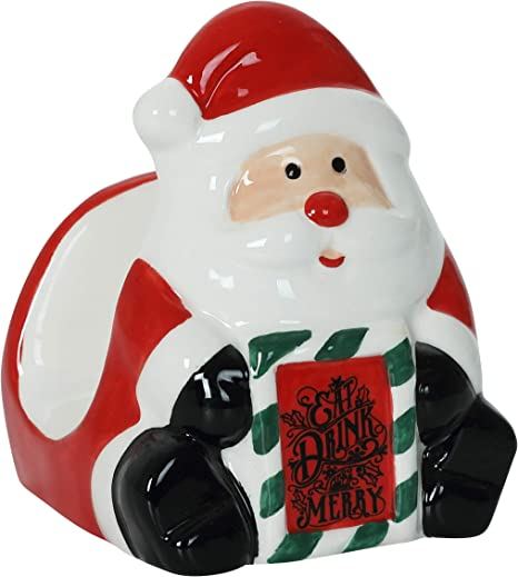 Amazon Com Christmas Themed Santa Ceramic Napkin Holder Kitchen Dining