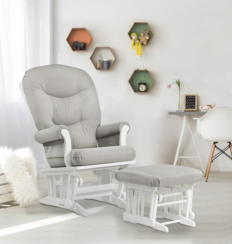 Dutailier Sleigh Glider and Ottoman Set, White/Light Grey