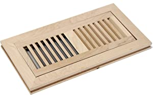 """WELLAND 4X12 Inch Maple Wood Flush Mount with Frame,Floor Register Vents Cover Grille Unfinished, 3/4"""" in Thickness"""