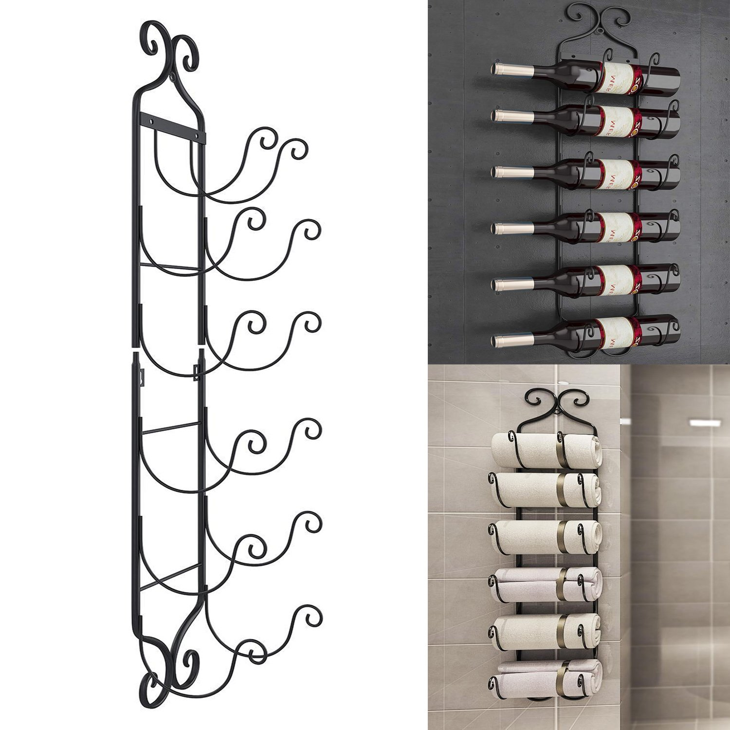 Vividy Wall Mounted Wine Rack, 6 Bottle Metal Hanging Towel Rack, Vertical Decorative Display Stand Towel Holder Shelves (Black)