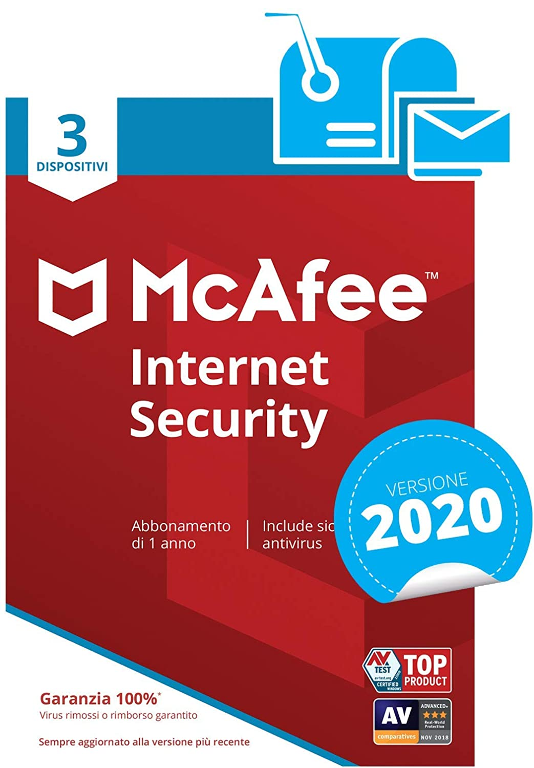 McAfee Internet Security 2020 | 3 Dispositivi | Abbonamento di 1 anno | PC/Mac/Smartphone/Tablet | Codice di attivazione via mail