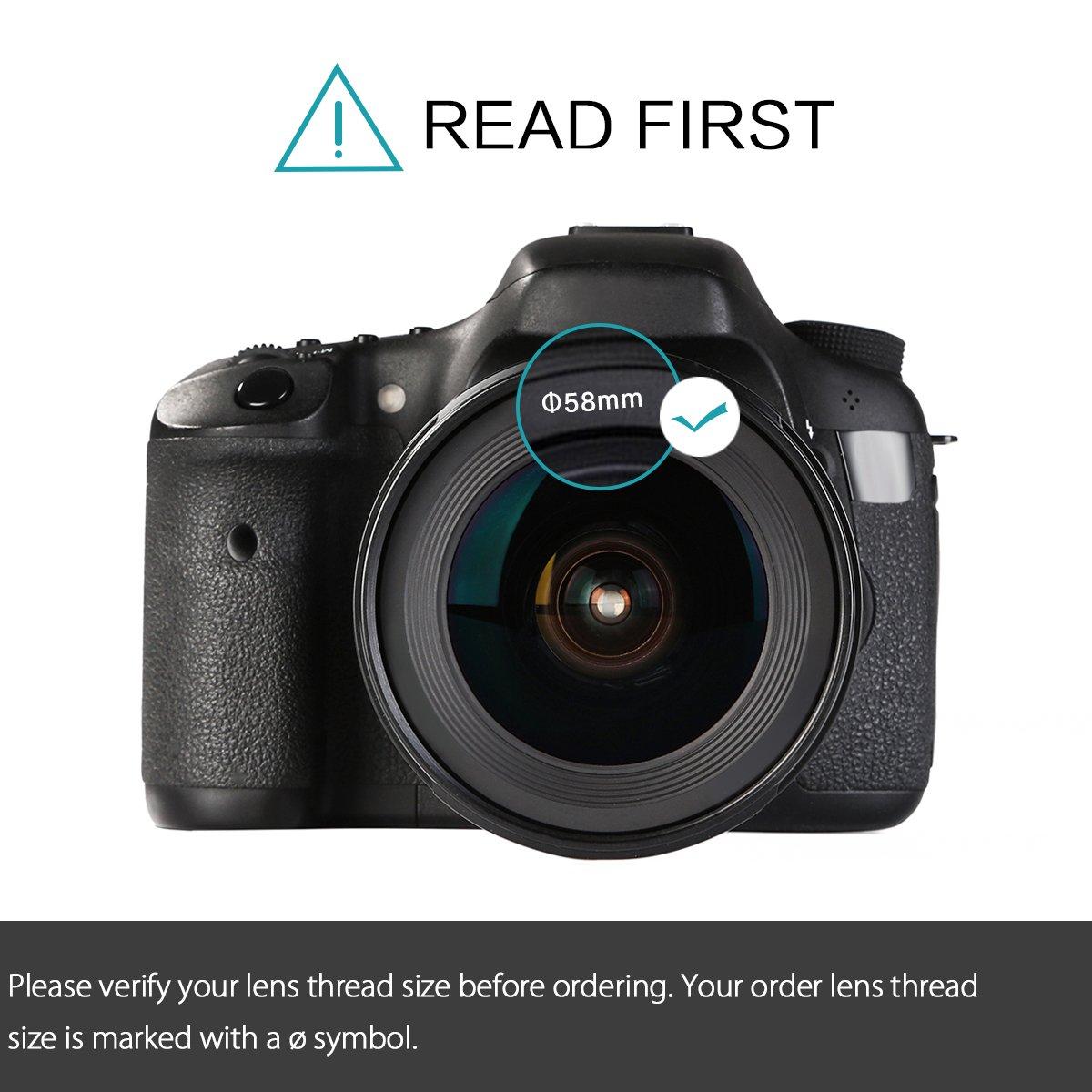 K&F Concept 58mm UV CPL FLD ND4 Kit de Filtro para la Lente Filtro ...