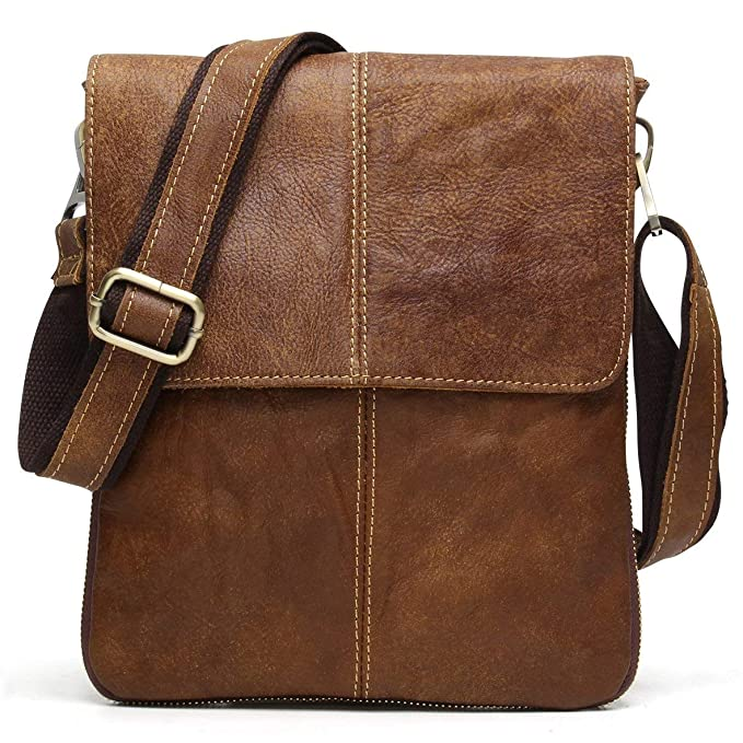 5328b29c79 BAIGIO Men Vintage Messenger Bag Nubuck Genuine Leather Cross-Body Satchel  Small Casual Shoulder Purse